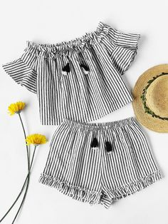 Shein shein tasseled tie frilled bardot top and shorts co ord adorewe com Girls Fashion Clothes, Teen Fashion Outfits, Baby Girl Fashion, Fashion Kids, Kids Outfits, Fashion Wear, Cute Summer Outfits, Cute Casual Outfits, Baby Frocks Designs