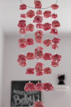 DIY Pink rose mobile for the nursery - so pretty!!
