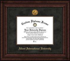 Alliant International University Diploma Frame - Gold Medallion - Suede Mat - Mahogany