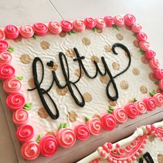 Fiftieth birthday party cookie cake. Gold , black and pink. So cute by Hayleycakes and cookies
