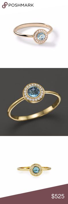 Lollipop Mini Ring London Blue Topaz With Diamonds Lollipop Mini Ring London Blue Topaz With Diamonds   IPPOLITA Lollipop 18K Yellow Gold Mini Ring in London Blue Topaz with Diamonds (0.08ctw).   This authentic elegant ring is by Ippolita from the Lollipop collection, well crafted from 18k yellow gold with a polished finish, it has a slim band with a 7mm diameter round form at the front decorated with a lovely London blue topaz and surrounded with 8 points sparkling diamonds.  SKU: 18208…