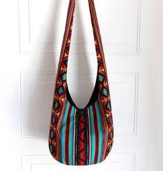 Hobo Bag, Sling Bag, Aztec, Southwestern, Geometric, Turquoise, Red, Orange, Stripes, Hippie Purse, Crossbody Bag