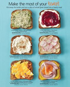 Can't decide which looks better avocado with parm or hummus and radish?  Ricotta and honey is a must try as is cream cheese and jam, black berry in my case.  Love blackberries