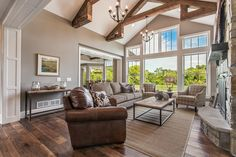 loved these beams and the warmth they add as well as the window and wall design for the view