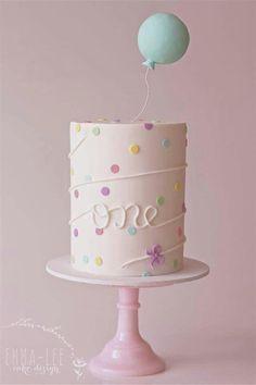 Pastels. Confetti. Balloon. First Birthday.