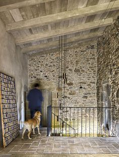Reason is that farmhouse is the place which is not like our modern houses interior design and it connects o. Loft Interior, Modern Home Interior Design, Natural Stone Wall, Metal Railings, Farmhouse Renovation, Old Farm Houses, Modern Staircase, Spanish House, Old Stone