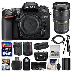 Kit includes:♦ 1) Nikon D7200 Wi-Fi Digital SLR Camera Body♦ 2) Nikon 24-70mm f/2.8G AF-S ED Zoom-Nikkor Lens♦ 3) Nikon Deluxe Digital SLR Camera Case♦ 4) Transcend 64GB SDXC 300x UHS-1 Class ...