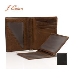 J.Quinn Leather Wallet Genuine Cowhide 4 Photo Holder Credit Card Brown Black Short Wallets With Zippet Pocket Soft European