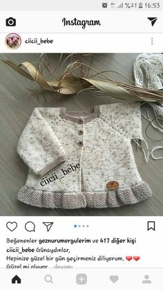 Knitting Pattern for Garter Stitch Baby JacketBaby cardigan knit in garter stitch with options for knit edging or crochet edging. Crochet Baby Jacket, Baby Girl Crochet, Crochet Baby Booties, Knit Crochet, Knitted Baby Clothes, Knitted Baby Blankets, Baby Knitting Patterns, Knitting For Kids, Diy Crafts Knitting