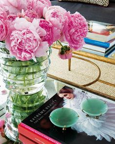 Pink peonies in chunky glass vase