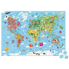 JANOD Magnetic World Map Puzzle - Magnetic us map puzzle janod