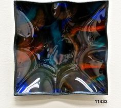 Tejas Art Deco Plate/Square/Pigskin Glass PlateCanvas Backing-Screen Mesh/Water-base paint with foils/Recycled Window Glass  Handmade in the US  Artists: Manuel Silva and Robert Ornelas $175