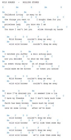 """""""Wild Horses"""" by The Rolling Stones Easy Guitar Tabs, Guitar Chords And Lyrics, Easy Guitar Songs, Guitar Chords For Songs, Guitar Chord Chart, Guitar Sheet Music, Piano Songs, Ukulele Chords, Rolling Stones Songs"""