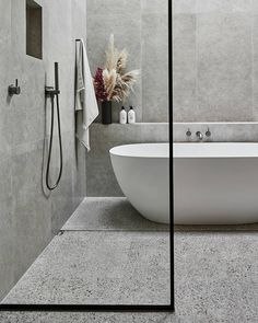 Luxury bathroom design with modern bathtub could be the best ideas 22 Related Reece Bathroom, Grey Bathroom Tiles, Bathroom Renos, Grey Bathrooms, Laundry In Bathroom, Beautiful Bathrooms, Small Bathroom, Grey Tiles, Master Bathroom