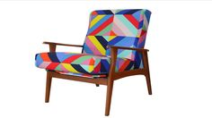 Refurbished arm chair in retro fabric #Reupholstery #livingroom #furniture #sofa #couches #loungesuite #retro