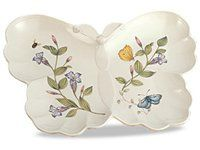 Lenox 10-in. Butterfly Meadow Butterfly Hors D'Oeuvre Plate. Based on the artistry of Louise Le Luyer, the Butterfly Meadow dinnerware collection takes its inspiration from springtime gardens with monarchs, tiger swallowtails, orange sulphurs, bumblebees, and dragonflies. The softly scalloped edges create a soft look and a charming aesthetic you'll cherish. This elegant 10-in. Hors D'Oeuvre Plate is shaped like a butterfly and is a versatile serving piece and excellent hostess gift…