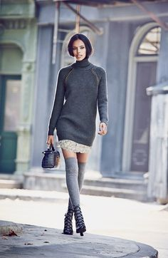 Tory Burch Turtleneck Sweater Dress, Silk Shirtdress & 'Astrid' Bootie  available at #Nordstrom