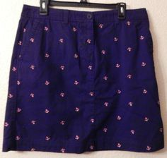 LL Bean Womens SZ 14 Blue Favorite Fit Straight Skirt Pink Embroidered Anchors  #LLBean #StraightPencil