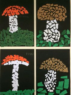 Mosaic {or Staind glass window STYLE } craft Autumn Crafts, Autumn Art, Nature Crafts, Autumn Activities, Art Activities, Diy And Crafts, Crafts For Kids, Paper Crafts, Mushroom Crafts