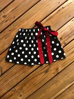 Girls Game Day Twirly Skirt with Fabric Bow. Black White Polka Dots. Solid Maroon Burgundy Garnet Removable Bow. By EverythingSorella. by EverythingSorella on Etsy