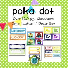 This set is huge! 125 pages of classroom organization and decor items for your classroom. This Polka Dot Classroom Organization and Decor Pack is multi-color and coordinates with my other Polka Dot collection items and my Chevron collection.  The file is a PDF with editable fields for the blank label sheets, schedule cards, and name plates.