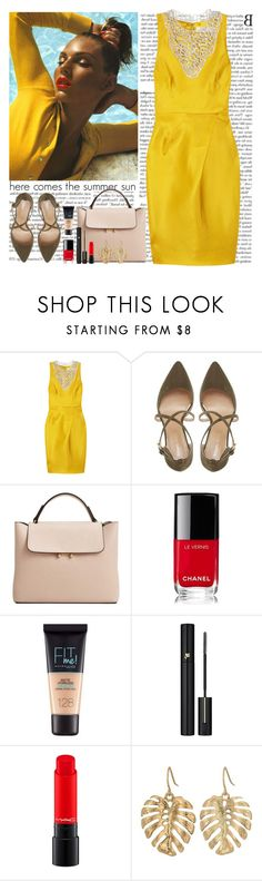 """brighter than sunshine"" by helena99 ❤ liked on Polyvore featuring Lela Rose, Roberto Vianni, MANGO, Chanel, Maybelline, Lancôme and The Sak"
