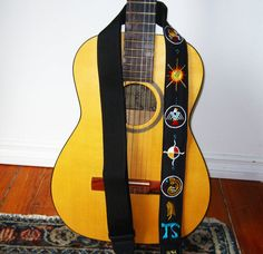 Siouxian Motif Guitar Strap Custom Hand Embroidered by Meoneil