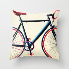 SALEPillow Cover Bicycle Pillow White Pillow Red by Andrekart, $31.45