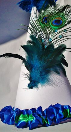 Peacock Party Hat by bibiddybobiddyboo on Etsy, $15.00