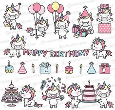 Premium Vector Clipart Kawaii Birthday Unicorns Cute