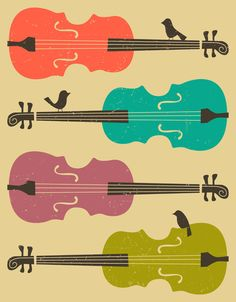 Poster | BIRDS ON A CELLO STRING  von Jazzberry Blue | more posters at http://moreposter.de