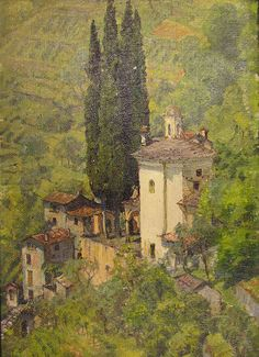 "Four works by Anna Richards Brewster (""Chalk Cliffs, Isle of Wight,"" GMOA 1954.467; ""Church Near Menaggio, Lake Como,"" GMOA 1954.471; ""Japanese Print and White Narcissus,"" GMOA 1954.482; and ""Near Menaggio, Lake Como, Italy,"" GMOA 1954.907 [pictured]) were on view as part of the exhibition ""Her Impressions"" at The Bascom, Highlands, North Carolina, June 23 – Sept. 16, 2012."