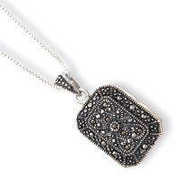Sterling Silver Marcasite Locket w18 inch Chain