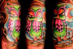 owl, girlie, evil, cartoon animal , swirls, colort tattoo   Kristel Oreto -Tattoo Artist- Philadelphia, PA