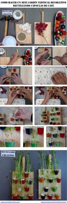 Reciclado Creativo en el patio. Jardines verticales con latas y cápsulas de café | Aprender manualidades es facilisimo.com