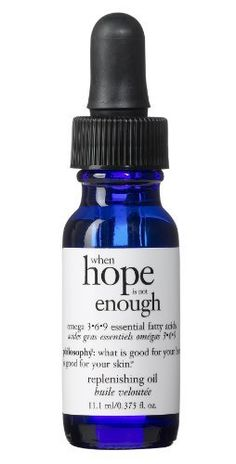 Philosophy When Hope is Not Enough Omega 3-6-9 Replenishing Oil, 0.85-Fluid Ounce by Philosophy. $44.95. Our lightweight oil hydrates dry skin, while helping to protect it against environmental attack. The nurturing formula helps maintain skin's elasticity.