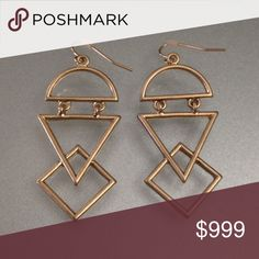 """NWT Gold Geo Cutout Drop Earrings NWT.  Excellent quality matte gold cutout earrings.  Approximately 2"""" long.  Also available in matte silver under a separate listing. Jewelry Earrings"""