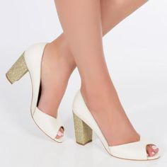 peep toe gold glitter block heel wedding shoe charlotte mills