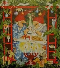 Artist Inge Look Christmas Tea Party, Vintage Christmas, Christmas Cards, Christmas Cookies, Christmas Coffee, Christmas Eve, Old Lady Humor, Nordic Art, Old Women