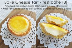 *** As of 3 May have baked 2 more batches of tarts with variations to the recipe. Bake Cheese Tart, Cheese Tarts, Dessert Cake Recipes, Cookie Recipes, Hokkaido Baked Cheese Tart, Milk Tart, Cheese Tasting, Custard Cake, Egg Tart