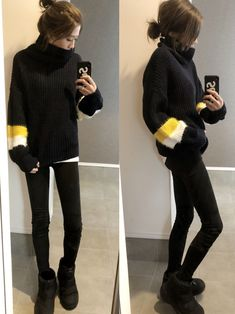 Pin on fancy Winter Outfits, Cool Outfits, Indie Fashion, Sport Wear, Fasion, Your Style, Autumn Fashion, Dress Up, Turtle Neck