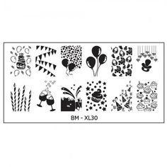 Full Nail Designs - XL Stamping Plate: BM-XL30, Let's Celebrate