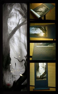 Moonlight-Art Atmospheric fantasy watercolor & ink paintings with Chinese and Japanese materials, Graphite and Goldleaf. By Yuehling - www.Moonlight-Art.com