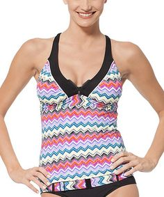 Black & Pink Chevron Racerback Tankini Top