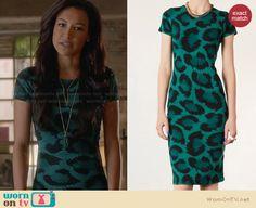 Santana's green leopard print dress on Glee. Outfit Details: http://wornontv.net/27998 #Glee #fashion