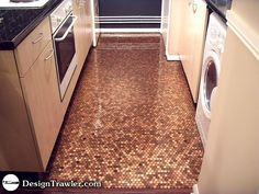 Penny flooring! Fun idea for a smaller place in the house- I've seen this as a mat area in front of the sink and as a shower mat area. Love