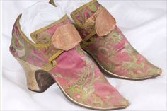 Mid 18th c ladies shoes brocaded in pink & green silk. Copyright Fairfax House
