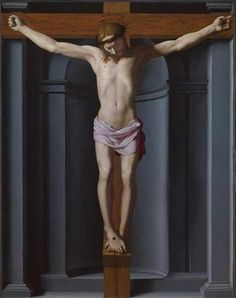 Agnolo di Cosimo (Italian, 1503-1572), usually known as Bronzino ~ Crucified Christ ~ ca.1545 ~ Musée des beaux-arts de Nice. ~ one of three 'missing' works by Bronzino, recorded and mentioned by Giorgio Vasari and recently rediscovered ~ The Crucified Christ was painted by Bronzino for Bartolomeo Panciatichi ~  Bronzino painted this from a cadaver nailed to a cross, clearly something that would be hard to do today.