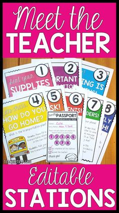 LOVE these stations for Meet the Teacher Night!  Print and go or design your own!  Perfect for an organized and memorable Back to School!