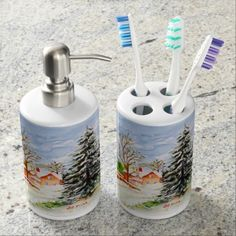 Home for Christmas Snowy Winter Scene Watercolor Toothbrush Holders